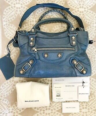 bcbf159c99 BALENCIAGA Agneau Giant 21 Lambskin Leather Silver City Bag-Bleu Blue