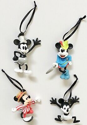 Disney Parks Mickey Mouse Through the Years Ornament Set 1 4 Pieces