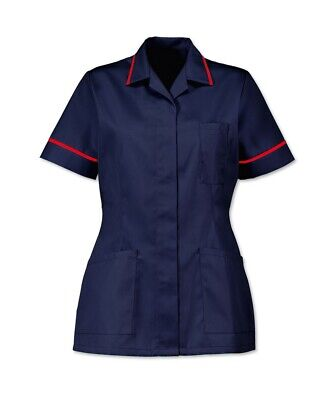 Womens Nurses Healthcare Tunic, Dental Salon, Nhs. Navy With Red Trim. Ins32Nv/R