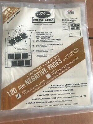 Savage Film Lok 12040 Clear Grade 120mm Film Negative Pages Heavy Duty 25 Pack