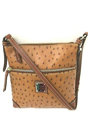 636febc08 Dooney Bourke Cognac Brown Ostrich Embossed Small Leather Shoulder Purse Bag