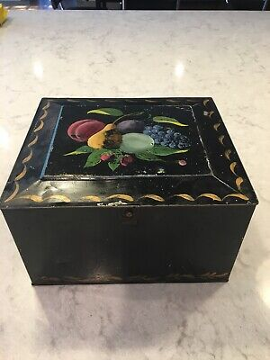 Antique 1920's Primitive Hand-painted Folk Art American Toleware Tin Soap Box