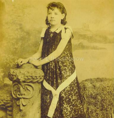 CABINET CARD PHOTO: Adolescent LATINA GIRL in FROCK w WHITE SASH & RIBBONS ID'd