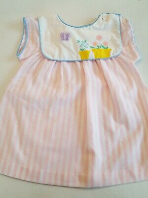 01b5606c721ef Baby Girl Vintage 80's Pastel Pink & White Stripe Polly Flinders Dress ...