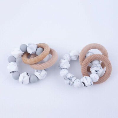 Baby Chewable Bracelet Rattles Hexagon Beads Silicone Teether Wooden Ring Toys