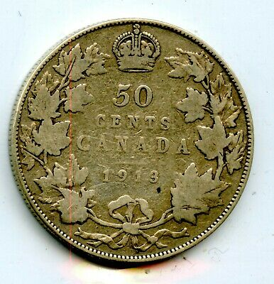 Weeda Canada 1913 silver 50 cents, key date, see scans