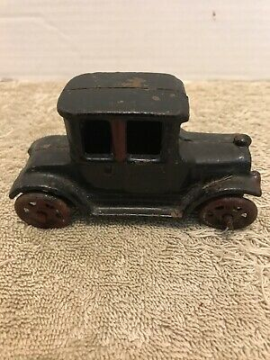 Antique Vintage Cast Iron You Car Arcade Hubley Black Model T Coupe 4 By 2.5 In.