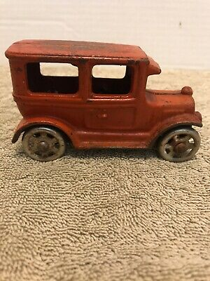 Antique Vintage Cast Iron Toy Car Arcade Hubley Red Model T Sedan 4 Inches Long