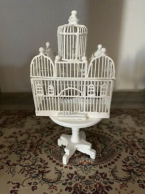Doll House Miniature Vintage Birdcage special listing Dollhouse Miniature 1:12 White Bird Cage with Stand And Movable Door