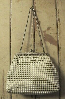 Small BAG White large Mesh Top snake chain handle Glomesh 70s Vintage Purse Chic