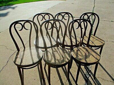 6 Thonet Bentwood Parlor Cafe Dining Chairs Heart-Shaped Cane Backs Early 1900's