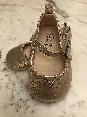 GAP Baby Girls Size 3-6 Months Metallic Pink Ballet Flats Mary Jane Shoes