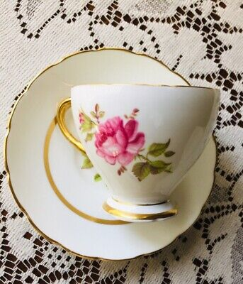 Vintage English Bone China Tea Cup & Saucer: Floral with Gold Design. Foley
