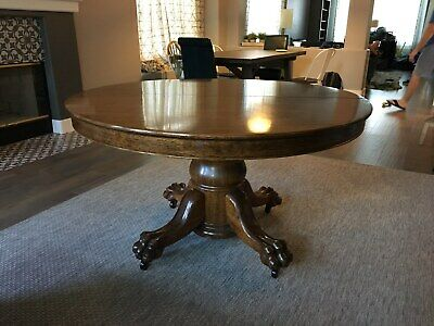 Oak Antique Lamp Table With Carved Claw Feet 650 00