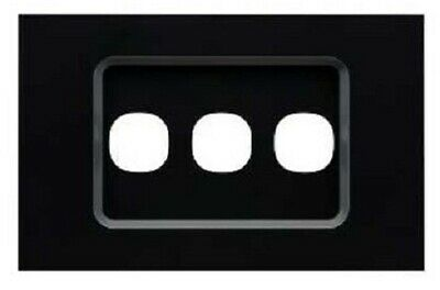 Clipsal SATURN ZEN GRID & PLATE ASSEMBLY 3-Gang For Switch/Push Button BLACK