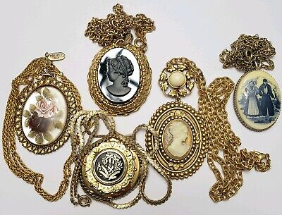 Lot of 5 Vintage Carved Cameo Pendants Necklaces Wear or Resell