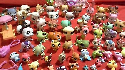 Mixed lot of 60 Hasbro LPS Littlest Pet Shop Toy Pets & Some Accessories