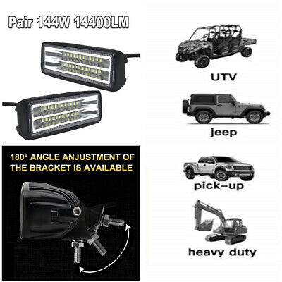 2PC 144W 14400LM  Led 180° Spot Beam Work Light for Truck forklifts SUV Off-road