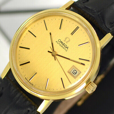 Vintage Omega Automatic 23 Jewels Cal.1012 Gold Dial Analog Dress Men's Watch