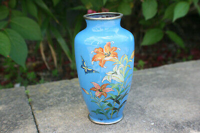 Chinese Japanese Cloisonne Enamel Flower Butterfly Small Vase