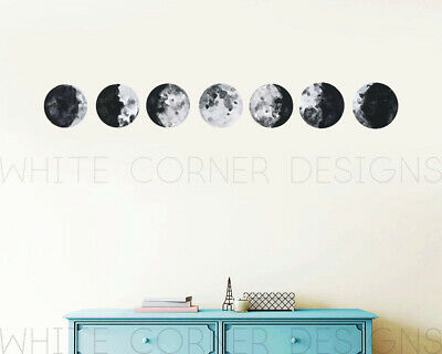 Moon Phases Wall Decal ,Moon Phases Decor, Multicolored Moon Phases, Modern