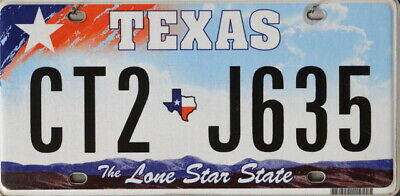 USA Number Licence Plate TEXAS  THE LONE STAR STATE LIGHT BLUE SKY