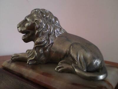 Antique 19thc Spelter recumbent Lion Figure mounted on marble & wood plinth