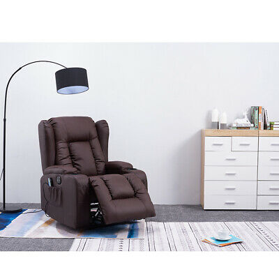 Electric PU Leather Recliner Armchair Heated Chair Massage Gaming Cinema Lounge