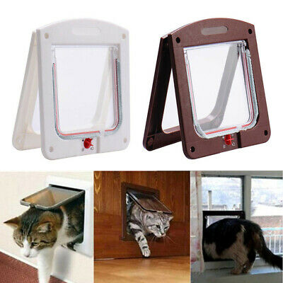 Pet Door 4 Way Lockable Original Pet Door Cat Puppy Flap Magnetic Door Frame
