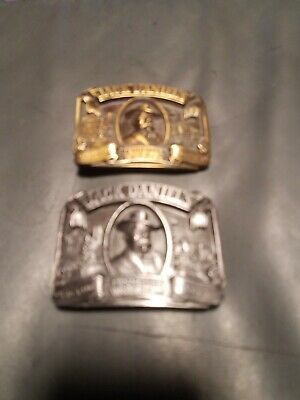 Lot of 2 Vintage 1989 Jack Daniels Old Time Whiskey Belt Buckle Western Cowboy