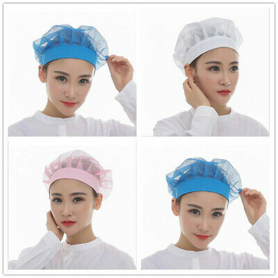 Mesh Top Skull Cap Catering Chefs Blue White Pink Kitchen Elastic Hat