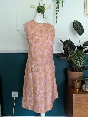 BEAUTIFUL vtg 1960s PINK GREEN PAISLEY FLORAL TRICEL SILK SHIFT DRESS GOGO 10 12