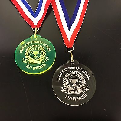 Bespoke School Sports Day Medals on a ribbon ,Engraved Free