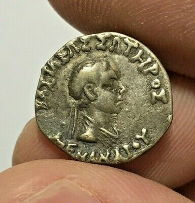 ANCIENT INDO GREEK SILVER COIN DRACHM MENANDER 1.3gr 16.4mm