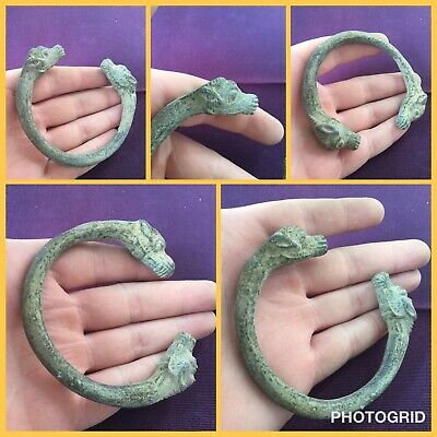 Very rare ancient Viking era Norse bracelet with serpent head 9 to 11th c ad