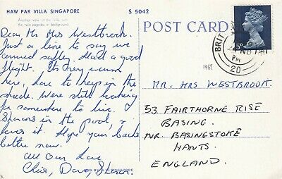 DD4244 Singapore UK FPO 20 Nov 1969 cds 5d Machin posctard UK