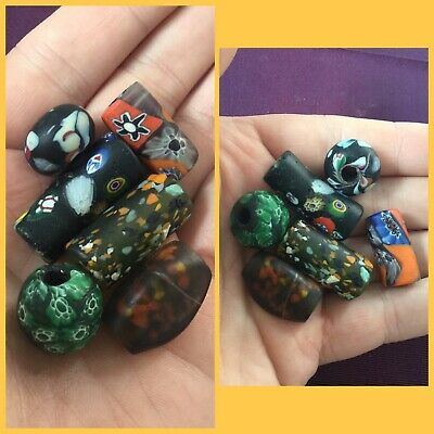 Rare ancient Phoenician glass bead group, 300 bc