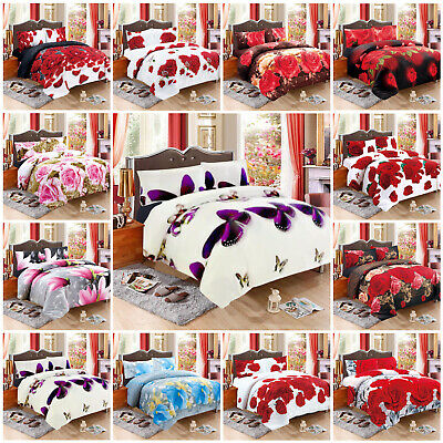 3D Effect Soft Quilt Duvet Cover Bedding Set with Pillow Sham &Free Fitted Sheet