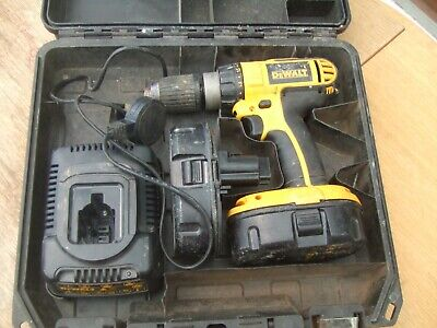 Dewalt DC 725 18V cordless drill with 2 batteries mains charger and fitted case