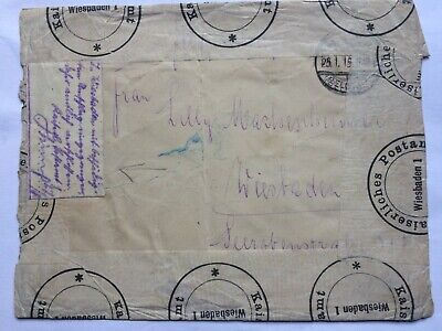 GERMANY 1915 cover to Wiesbaden with Kaiserliches Postamt Wiesbaden tape