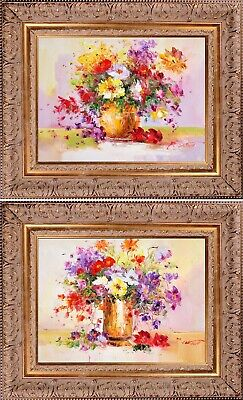 Framed Oil Painting On Canvas, Texture Wall Art Flowers Bouquet, Set of 2 Signed