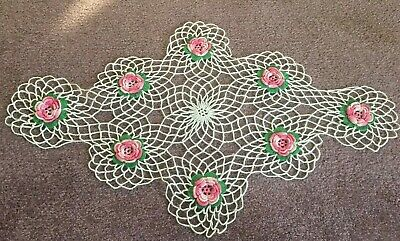"""25"""" Hand Crocheted Vintage Oblong White Doily with Pink Flowers FREE SHIPPING"""