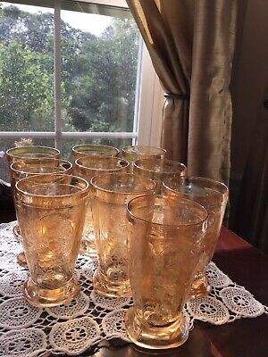 Jeanette Depression Glass FLORAGOLD LOUISA Square Footed Tumblers Set Of 10