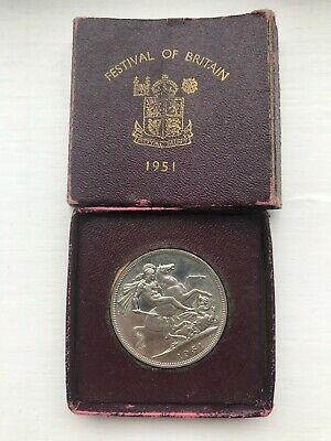 Festival of Britain 1951 Five Shilling Piece Coin Royal Mint Burgundy Box Brown