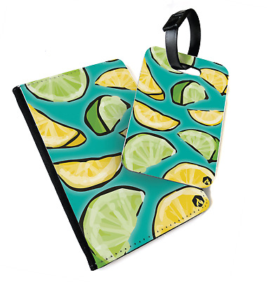 Fruit Pattern - Lemon And Lime | Printed Passport Cover & Luggage Tag - Vegan