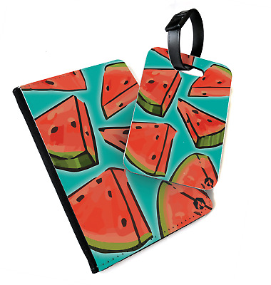 Fruit Pattern - Watermelon | Printed Passport Cover & Luggage Tag - Vegan Sweet