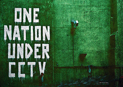 One Nation Under CCTV Metal Wall Sign Plaque Art Inspirational Banksy Graffiti