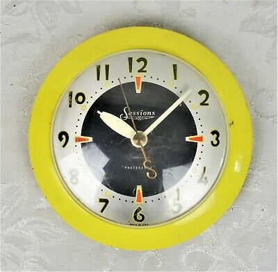 Vintage Mid Century Sessions Yellow Wall Clock 1950s Mid Century Works