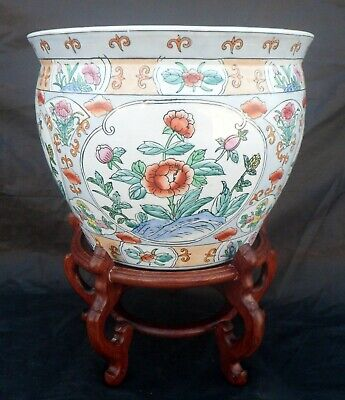 Large Chinese Ceramic Jardiniere or Koi Pot with Floral Panels, Wooden Stand