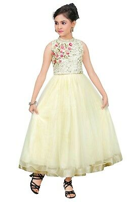 Kid Indian Bollywood Ethnic Cream Party Long Frock for Girl's